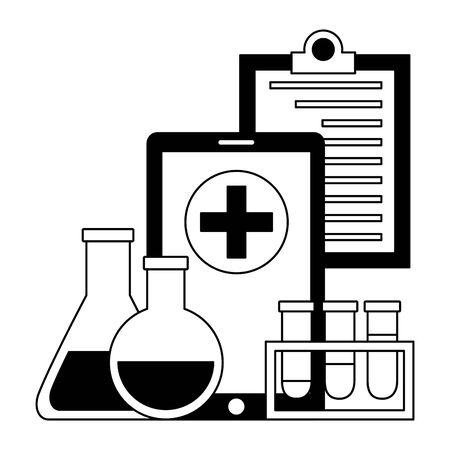 medical smartphone clipboard flasks clinic vector illustration Ilustracja