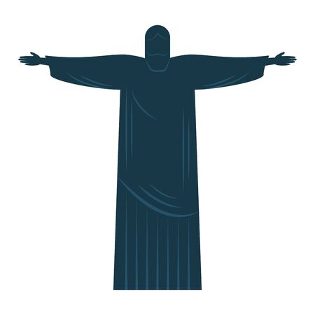 silhouette corcovado christ brazil statue vector illustration