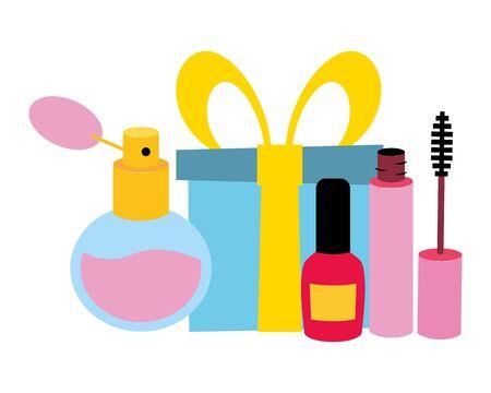 prezent tusz do rzęs pędzel lakier do paznokci zapach pop-art elementy ilustracji wektorowych Ilustracje wektorowe