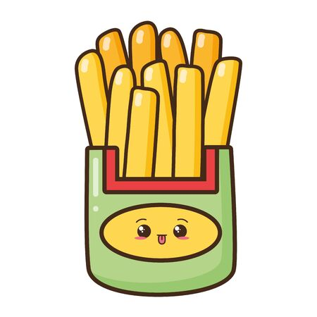 kawaii cartoon french fries white background vector illustration