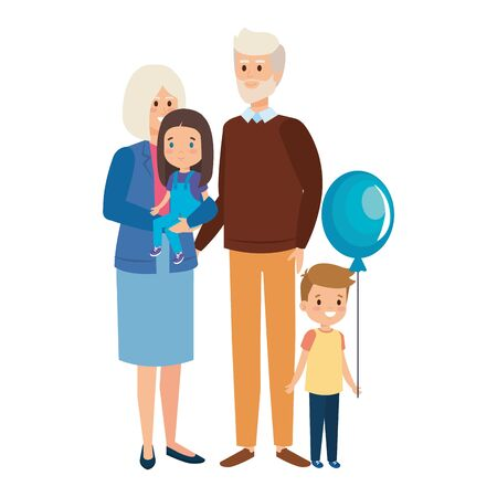 cute grandparents couple with grandson and grandaughter vector illustration Ilustração