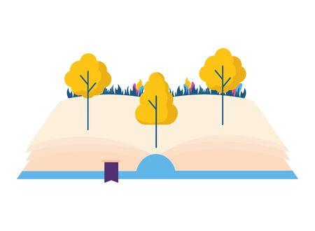 open book trees nature on white background vector illustration 版權商用圖片 - 129013679