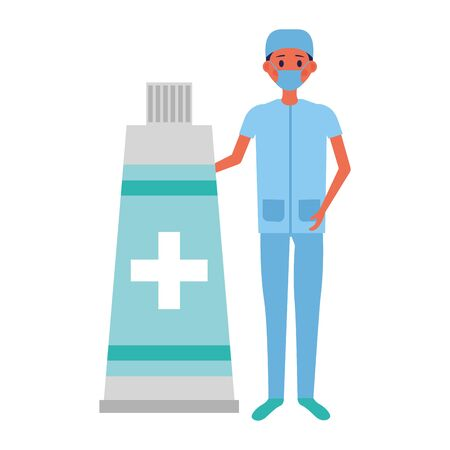 doctor man medical tube medicine vector illustration Çizim