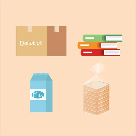 set box donation with books and milk box and bread vector illustration Illustration