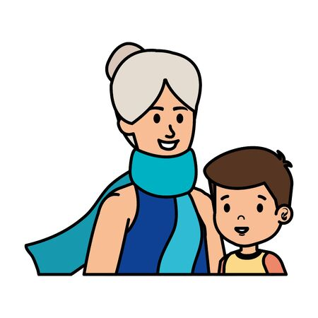 cute grandmother with grandson vector illustration design