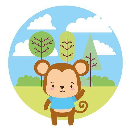 cute monkey cartoon landscape vector illustration design Vektoros illusztráció