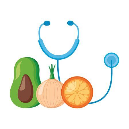 stethoscope avocado orange onion world health day vector illustration