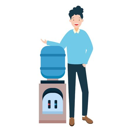 man with water dispenser on white background vector illustration