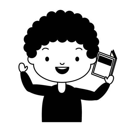 boy holding textbook - world book day vector illustration 版權商用圖片 - 129023770