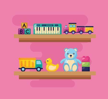 piano train bear duck truck blocks shelf kids toys vector illustration Banque d'images - 129037565
