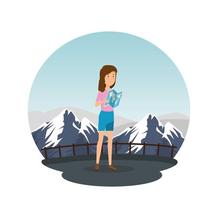 tourist woman with paper map vector illustration design