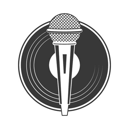 microphone and vinyl karaoke music vector illustration Stock Illustratie
