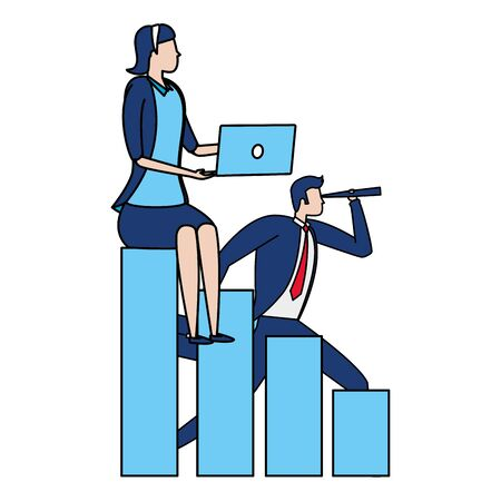 businessman and woman chart laptop business success vector illustration