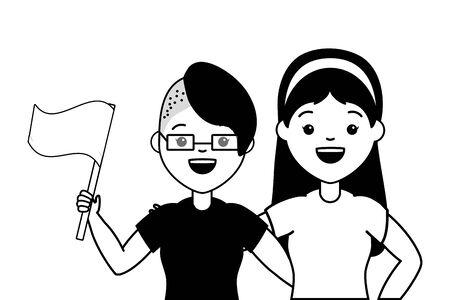 happy couple women lgbt pride vector illustration Ilustracja