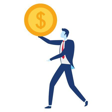 businessman money coin dollar business success vector illustration Imagens - 129038428