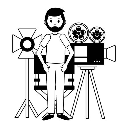 man camera chair and light film movie production vector illustration