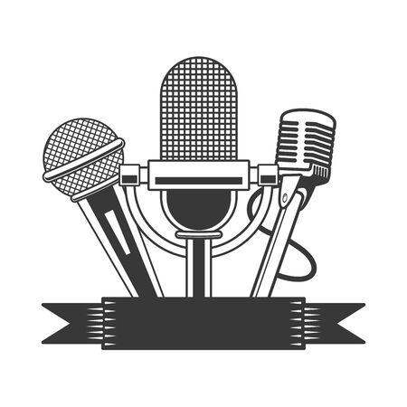 microphone sound retro icon on white background vector illustration Stock Illustratie