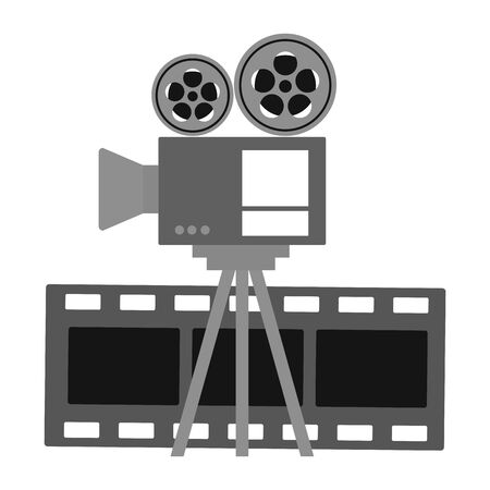 projector and film strip cinema movie vector illustration
