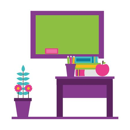 desk apple books potted flower teachers day card vector illustration 版權商用圖片 - 129038497