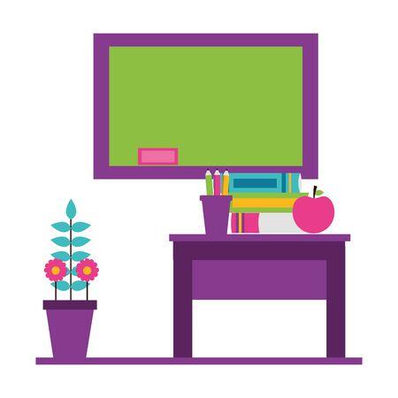 desk apple books potted flower teachers day card vector illustration Illustration