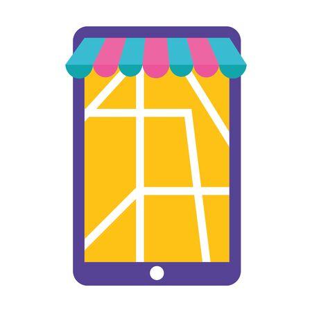 smartphone map navigation fast delivery vector illustration