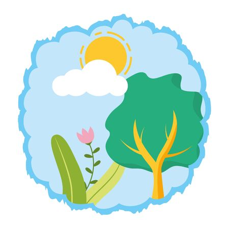 tree botanical forest on white background vector illustration