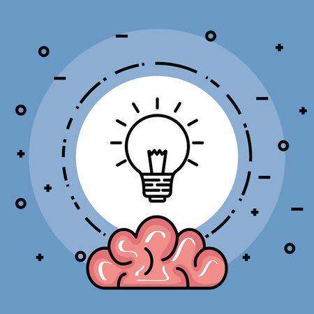 Etiqueta con idea de bombilla creativa e ilustración de vector de cerebro