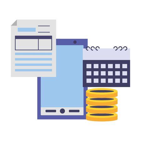 cellphone calendar money form tax payment vector illustration Imagens - 129039415
