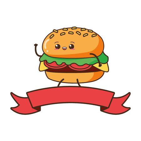 kawaii burger fast food cartoon vector illustration