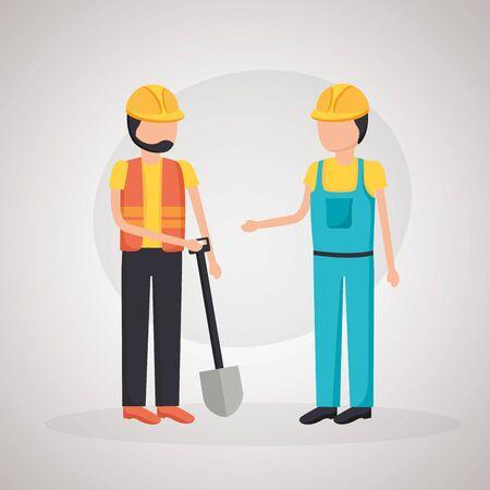 worker construction equipment shovel tool vector illustration