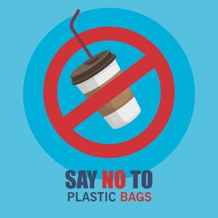 toxic plastic cup and say no bags waste vector illustration