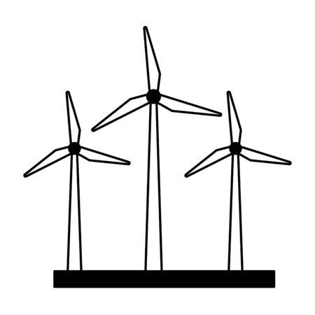 Aerogeneradores de energía renovable, diseño de ilustraciones vectoriales