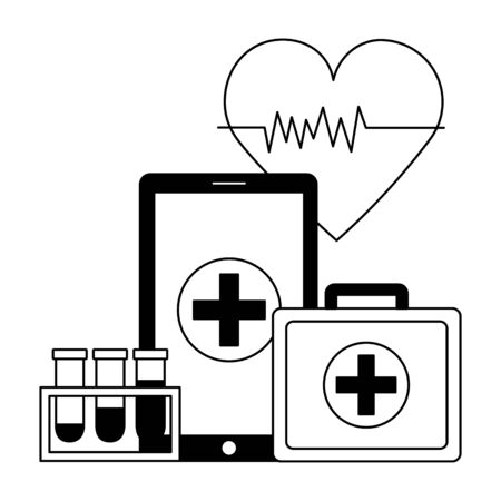 medical smartphone suitcase flasks heartbeat vector illustration