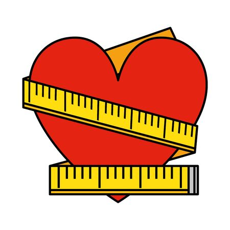 heart with tape measure vector illustration design Stock Vector - 129042349