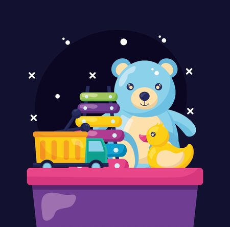 kids toys bear duck truck  xylophone dark background vector illustration Foto de archivo - 129047793