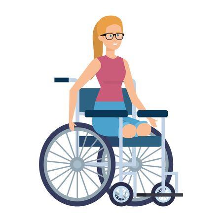 jeune femme, dans, fauteuil roulant, vecteur, illustration, conception