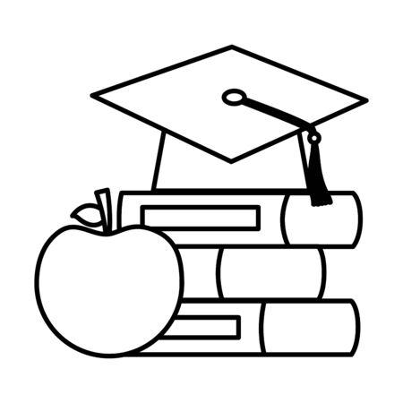 school graduation hat books apple teachers day  vector illustration