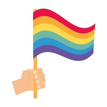 hand with flag rainbow pride love vector illustration