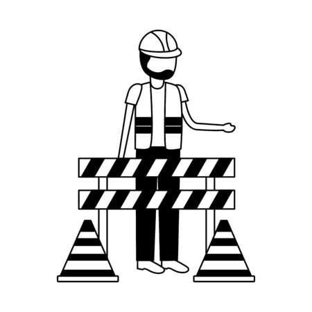 construction worker traffic barricade and cone vector illustration