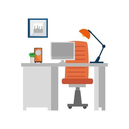 office work place scene with desktop vector illustration design