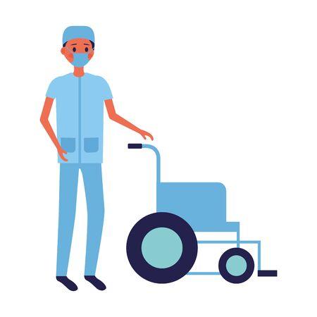 medical people staff nurse man wheelchair vector illustration vector illustration Illustration