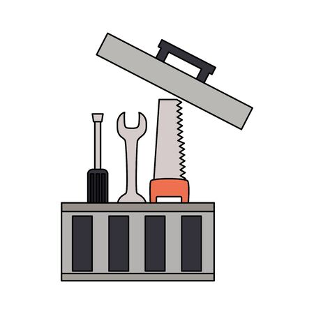 toolbox repair construction saw spanner screwdriver vector illustration Illustration
