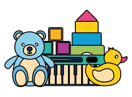 kids toys bear duck piano cubes blocks vector illustration
