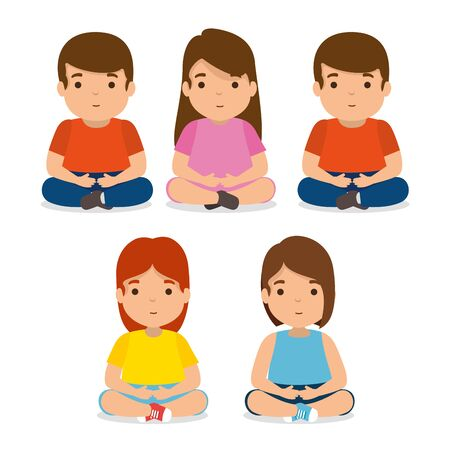 set kids friends together with casual clothes vector illustration
