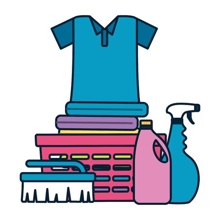 laundry clothes spray brush spring cleaning tools vector illustration