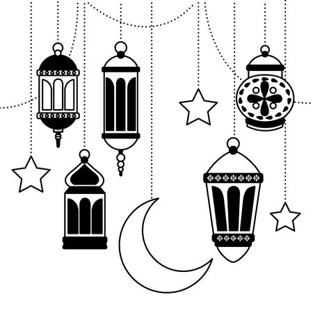hanging lanterns decoration on white background vector illustration