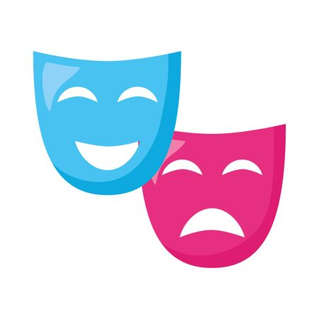 theater mask comedy drama white background vector illustration design  イラスト・ベクター素材