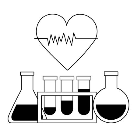 medical flasks beaker heartbeat clinic vector illustration