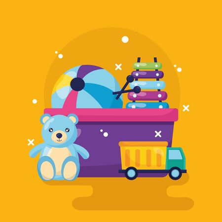 bear  xylophone truck ball kids toys vector illustration