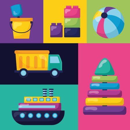 kids toys set pyramid boat truck ball blocks bucket shovel vector illustration